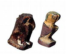 A pair of Egyptian wooden Horus falcons