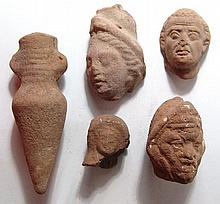 4 Graeco-Roman terracotta head fragments, votive amphora