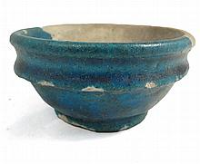 A Egyptian turquoise terracotta bowl