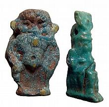 A lot of 2 Egyptian faience amulets