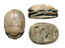 Egyptian brown steatite scarab New Kingdom, Ramesside