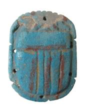 A large Egyptian faience pectoral scarab, Ptolemaic