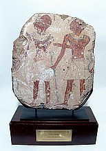 Large Egyptian relief depicting a pair of priests