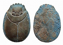 Large blue faience scarab from a pectoral