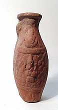 An Egyptian Red-Ware molded flask