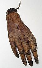 An Egyptian mummified human right hand