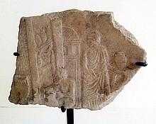 Roman marble relief depicting a potter's shop