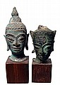 A lot of 2 bronze heads of Buddha, Thailand