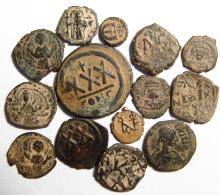 A mixed group of 14 bronze Byzantine coins