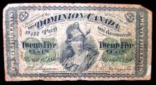 CANADIAN FRACTURAL PAPER MONEY TWENTY FIVE CENTS
