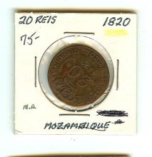 1820 MOZAMBIQUE 20 REIS LARGE COIN FINE CONDITION