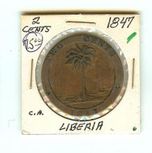 1847 LIBERIA LARGE TWO CENT COIN VF/XF GRADE