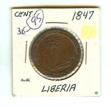 1847 LIBERIA LARGE TWO CENT COIN VF + GRADE