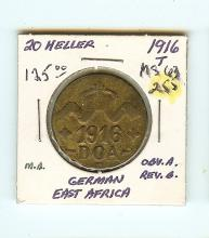 1916 20 HELLER GERMAN EAST AFRICA XF GRADED COIN