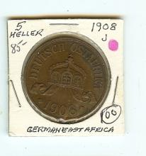 1908 FIVE HELLER GERMAN EAST AFRICA X F GRADE RARE COIN