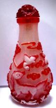 CHINESE PAINTED GLASS SNUFF BOTTLE COLORED GLASS