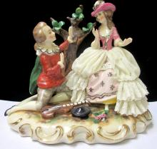 DRESDEN PORCELAIN STATUE OF COURTING COUPLE