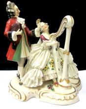 DRESDEN PORCELAIN STATUE OF MAN & WOMAN PLAYING HARP