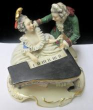DRESDEN PORCELAIN GENTLEMAN & LADY WITH PLAYING PIANO