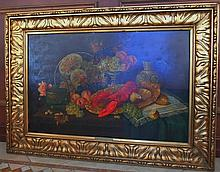 RUDOLPH STOITZNER VIENNA OIL PAINTING FRUITS & LOBSTER