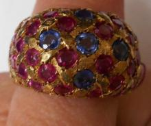 LADIES 14KT YELLOW GOLD 1 CTS RUBY & 1/2 CTS SAPPHIRES