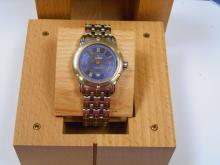 Beautiful Gevril Auto Blue Dial, Date Watch with Wooden