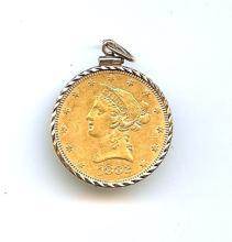 1882 $10 Gold Liberty in 14k Bezel