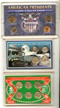 LOT OF 3 US COIN COLLECTIONS IN PLASTIC.