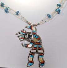 ZUNI Rainbow Man NECKLACE STERLING & MULTI-STONE INLAY.