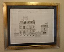 Large French architectural drawing of a Parisian v