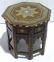Arabic hardwood ivory inlaid octagonal side table,