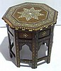 Arabic hardwood ivory inlaid octagonal side table,