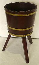 Mahogany bucket shape planter with brass banding,