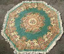 Octagonal Chinese Tientsin wool carpet, green