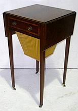 Edwardian mahogany drop-flap workbox, satinwood