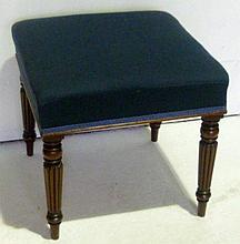 Mahogany square stool on turned and fluted legs,