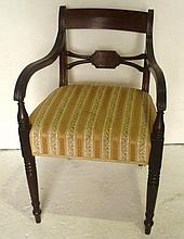 Mahogany frame carver chair with swept fluted open