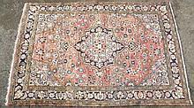 Persian Hamedan carpet, red and blue floral