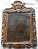 19th century carved oak wall mirror, scroll and