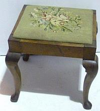 Oak stool with floral tapestry seat, cabriole