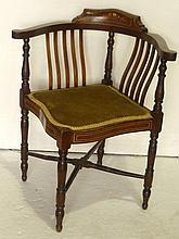 Edwardian corner chair with inlaid top rail,