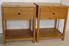 Pair of Oliver Bonas light oak cube shape bedside