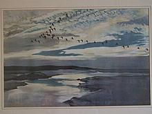 Peter Scott print of geese, dated 1937, framed & glazed