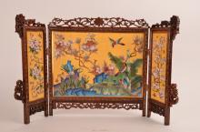 Fine Chinese cloisonné three-fold table screen, the center panel with birds i