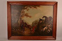 Oil on canvas of horse fox hunt.
