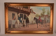 antique oil on canvas of an old European village scene