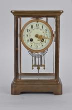 Marti et Cie French mantle clock, beveled glass and Arabic numerals on the face.
