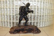 Japanese Meji Period-Tokyo school bronze figure of a hunter