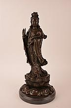 Bronze Oriental Goddess mounted on a dark brown marble base.