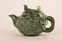 Antique Chinese Spinach Jade tea pot with chained lid